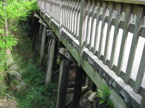 Railroad trestle base of bridge